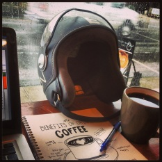 Rainy day coffee, scooter and thoughts.